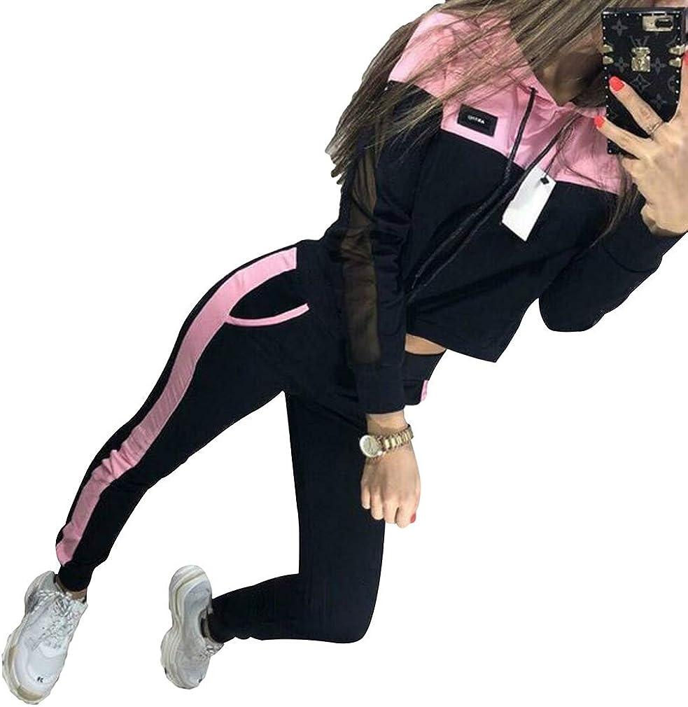 WEIMEITE 2 Unids Sudaderas con Capucha MujerSport Tops Pantalones Chándal Sudadera Conjunto De Jogging