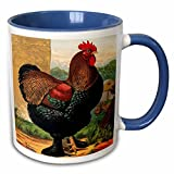 3dRose BLN Vintage Roosters and Hens - Vintage Partridge Cochin Rooster, Dark Green and Brown - 11oz Two-Tone Blue Mug (mug_221964_6)