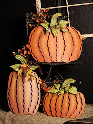 - The Round Top Collection - Metal Pumpkins Assortment of 3