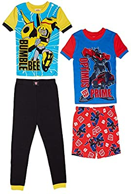 Komar Kids Boys 4 Piece Cotton Pajamas Sleepwear Set with Shorts and Pants