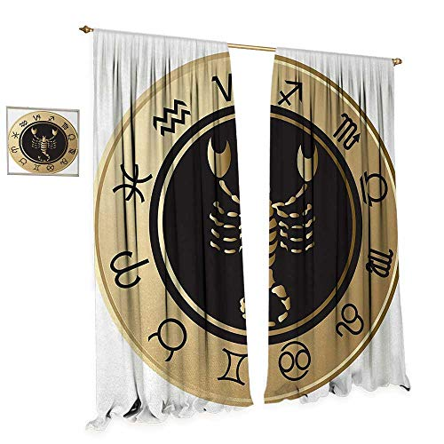 Anniutwo Zodiac Scorpio Window Curtain Fabric Twelve Signs in a Circle with Scorpion in The Middle Astrology Future Drapes for Living Room W72 x L84 Gold Black White for $<!--$58.56-->