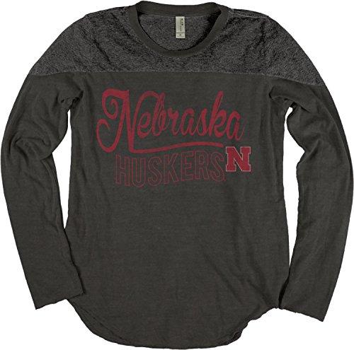 NCAA Nebraska Cornhuskers Women's Dyed Long Sleeve Yoke Tee, Large, Black