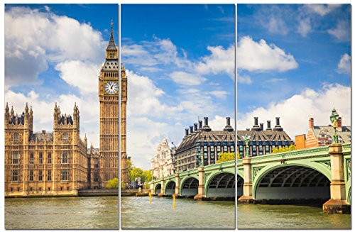 Canvas Wall Art Decor - 12x24 3 Piece Set  - London UK City