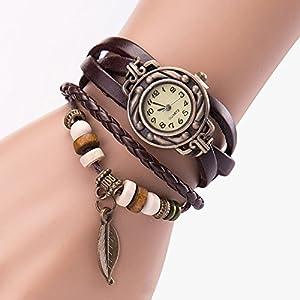 YaidaWomen Girl Vintage Watches, Bracelet Wristwatches Leaf Pendant Coffee
