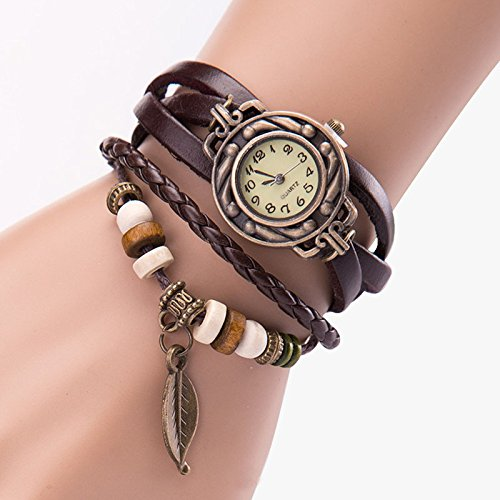 Fashion Women Leather Rhinestone Analog Quartz Wrist Watches,Outsta Women Bracelet Watch (Coffee) ()