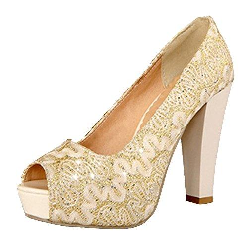 Femmes A Enfiler Gold Escarpins Taoffen Oq6zWHvww