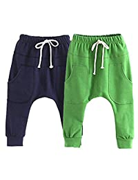 Little Baby Boys Girls 2 Pack Of Cotton Hiphop Harem Pants Infant Sport Jogger