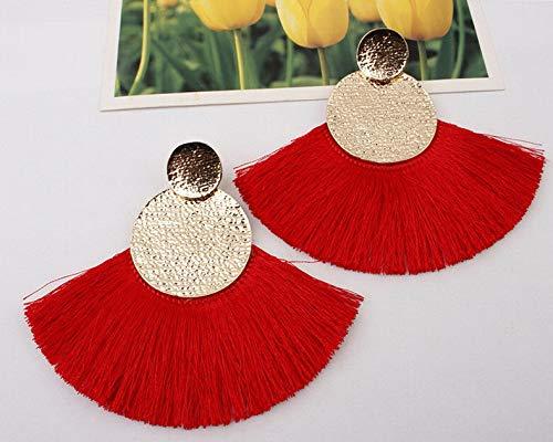 Wausa Boho Hoop Fringe Drop Earrings Circle Fan Shaped Straw Tassel Earrings | Model ERRNGS - 7098 |