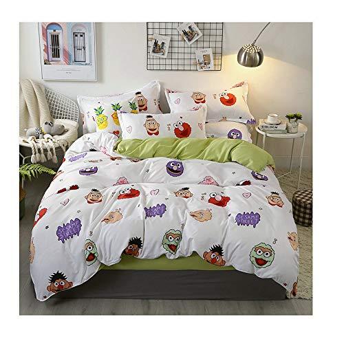 KFZ Bed Set Beddingset Duvet Cover No Comforter Flat Sheet Pillowcases JSD1902 Twin Full Queen King Sheets Set Peppa Pig Sesame Street Bulldog Printed for Kids (Sesame Street, Pink, Queen 78