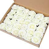 Artificial Flower Rose,Marry Acting 30pcs Ivory Real Touch Artificial Roses for DIY Bouquets Wedding Party Baby Shower Home Decor