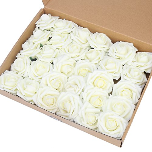 Gold Flower Mary - Artificial Flower Rose,Marry Acting 30pcs Real Touch Artificial Roses for DIY Bouquets Wedding Party Baby Shower Home Decor (Ivory)
