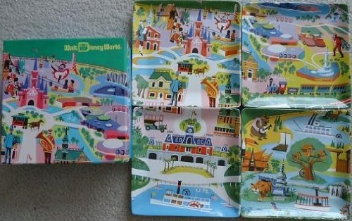 Disney Walt World WDW Kevin Kidney Jody Daily- 1970's Preview Center Map 4 Ceramic Plate Set Brand New in Box