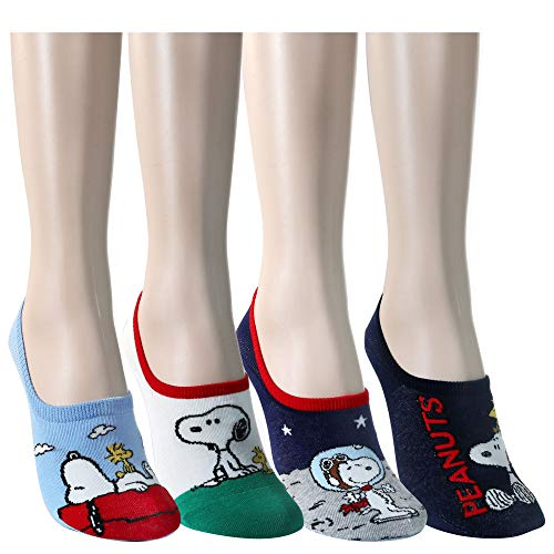 Women's Character No-Show Super Cute Liner Non Slip Flat Boat Socks (Snoopy, Peanuts and Simpsons) 4/5 Pack -