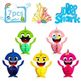 Ticiaga Little Shark Party Favors, 7pcs Doo Doo Shark Honeycomb Centerpieces Table Topper for Birthday Party Decoration, Double Sided Little Shark Cake Topper, Photo Booth Props, Shark Party Supplies