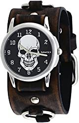 Nemesis #FRBB921K Men's Black Death Skull Dial Wide Leather Ring Cuff Band Watch