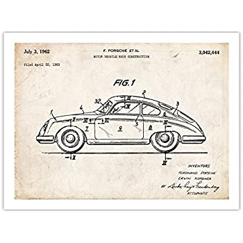 Steves Poster Store PORSCHE 356 POSTER 1962 PATENT ART PRINT 356 996 997 911 550 SPEEDSTER CARRERA TURBO ORIGINAL GIFT (18x24)