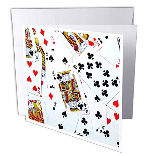 3dRose InspirationzStore Game designs - Scattered playing cards photo - for card game players eg poker bridge games casino las vegas night - 1 Greeting Card with envelope (gc_112896_5)