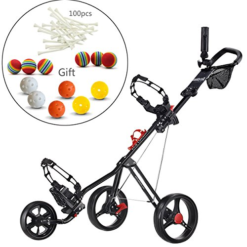CaddyTek SuperLite Deluxe Golf Push Cart,golf trolley-Black with practise...