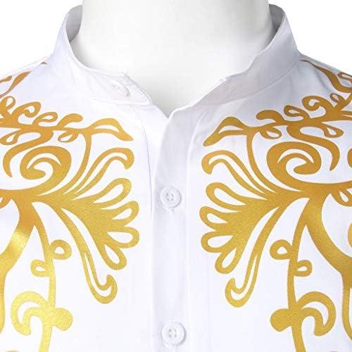 Dragon868 Cuello de Estilo Africano para Hombre Traje Largo Casual Camisas de Manga Larga con Estampado Africano Camisa de Cuello Alto Blusa Tops S-XXL Camisas Hombres