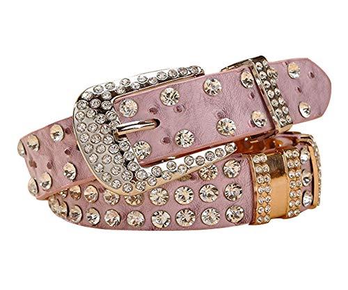 (Women's Western Cowgirl Rhinestone Studded Bling Belt, Luxury Designer Jeans Women Belt Length 41 inch Pink)