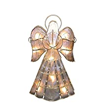 "Kurt Adler 10-Light 16"" Capiz Tabletop Angel with Twisted Wire & Pearl Accent"