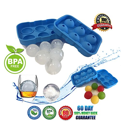 Freezy Silicone Ice Sphere Tray - Round Sphere Ice Ball Maker - Ice Ball Silicone Mold Round Ice Ball Spheres for Whiskey, Cocktails, Bourbon and Drinks