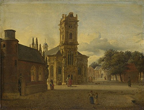 The Polyster Canvas Of Oil Painting 'Jan Van Der Heyden A Square Before A Church ' ,size: 10 X 13 Inch / 25 X 33 Cm ,this Imitations Art DecorativePrints - $25 Texas Orange Optical