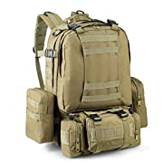 zeadio Military Tactical Backpack, Large Survival Rucksack Army Assault Pack Molle bag – Camouflage Yellow