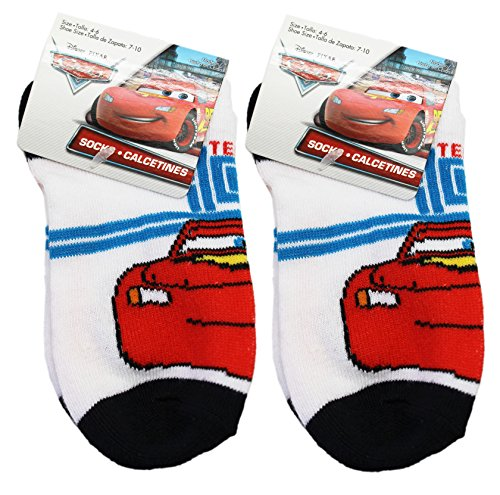 Disney Pixar's Cars Lightning McQueen White/Black Kids Socks (Size 4-6, 2 Pairs)