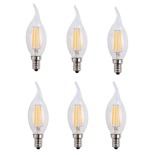 E14 4W LED vela de filamentos luz 40W bombilla incandescente equivalente, luz blanca cálida 2700
