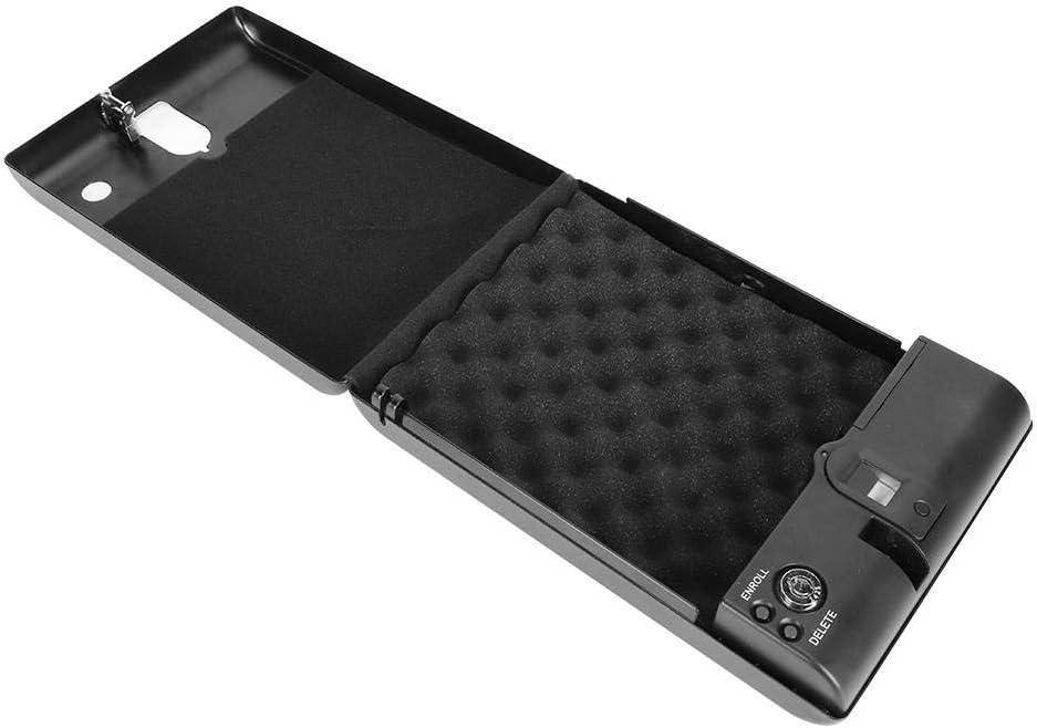 Coffre de S/écurit/é pour Pistolet 275 * 190 * 50 millim/ètre Coffre-fort Biom/étrique Dempreintes Digitales Coffre-fort Portable pour Largent D/éverrouillage Rapide Dempreintes Digitales