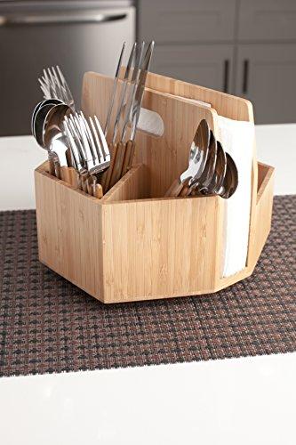 Bamboo Rotating Utensil Holder Portable Silverware Caddy, Condiment, Dining & Kitchen Organizer, Makeup Holder, Desktop, Classroom Supplies Organizer by MobileVision (Image #6)