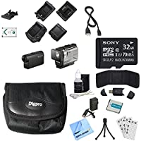 Sony HDRAS50R/B Full HD Action Cam + Live View Remote 32GB Memory Card Bundle includes HDRAS50R/B Action Cam, Live View Remote, 32GB microSD Memory Card, Cleaning Kit, Beach Camera Cloth and More!