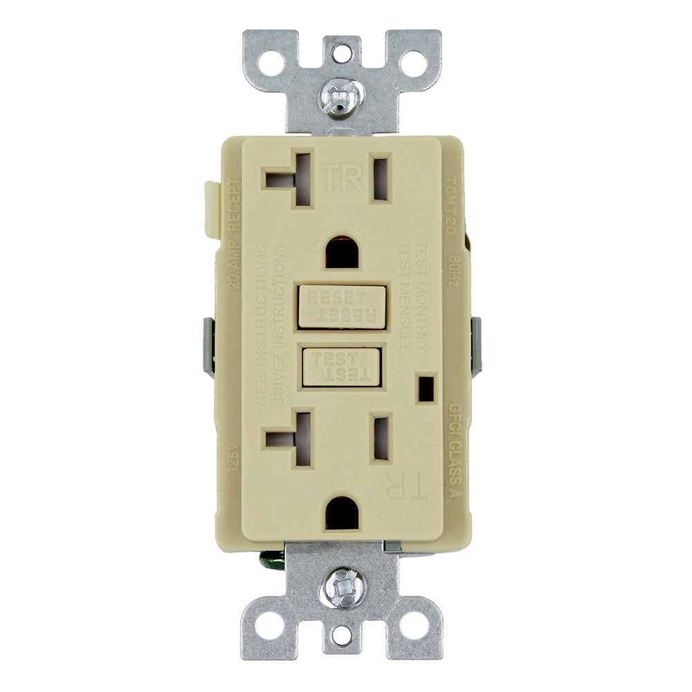 GFCI Wall Outlet Receptacle – 20 Amp, 125 Volt Tamper Resistant Duplex with LED Indicator Light. UL Listed and Comes with Wall plate and Screws (Ivory - 10PK) by ESD Tech (Image #2)