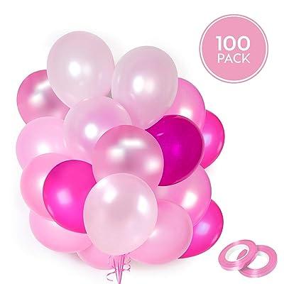100 Globos rosas de látex + Cinta rosa + Soportes + Pegatinas de pared de globos | 5 colores mezclados | Fiesta rosa, Primera Comunion, Bautizo Niña, Boda, Cumpleaños | 30 centímetros | Helio o Aire: Juguetes y juegos