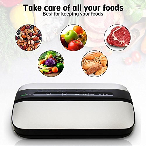 NutriChef Automatic Handheld Vacuum Sealer Machine - Simple & Compact Fresh Saver Meal - with Built-In Roll Storage & Cutter - Dry, Moist & Marinate Food Modes (Stainless Steel) by NutriChef (Image #2)