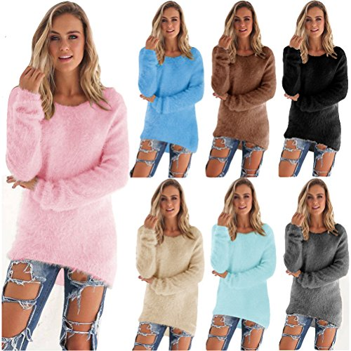 Mohair Blend Sweater (AOWA Women Apricot Mohair Blend Fuzzy Stylish Casual Soft Blouse Pullover Jumper Loose Sweater Knitwear (Apricot, XL))