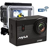 Anytek AT100 4K WiFi Action Camera 16MP 2 Inch LCD Screen Sports Cam Waterproof Diving Camcorder 170° Wide Angle Lens with 1350mAh Battery and Accessories Kit