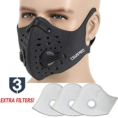 MoHo Dust Mask, Upgrade Version Activated Carbon Dustproof Mask Windproof Foggy Haze Anti-Dust Mask Motorcycle Bicycle Cycling Ski Half Face Mask for Outdoor Activities (Gray+3 Extra Filter)