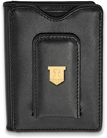 Sterling Silver w/ 14K Yellow Gold-Plated LogoArt Official Licensed Collegiate University of Illinois (UI) Black Leather Wallet