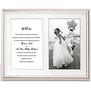 kate spade new york rosy glow double invitation 5x7 silver plated metal picture frame