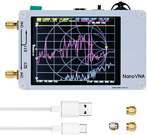 KKmoon Analizador de red portátil de mano Analizador de antena Vector 50KHz-900MHz Pantalla digital Pantalla táctil de onda corta MF HF VHF UHF Onda ...