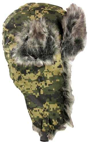 Dakota Dan Mens Ear Flap Cap w/ Faux Fur Lining (Digital Camo Green) ()