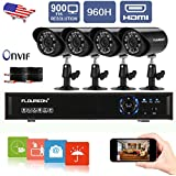 Floureon 4CH 960H Digital Video Recorder HDMI DVR+Outdoor Night Vision Bullet Camera 900TVL Waterproof IR LED CCTV Security Cameras 4 Packs, 60ft Cables (4CH 960H 900TVL)