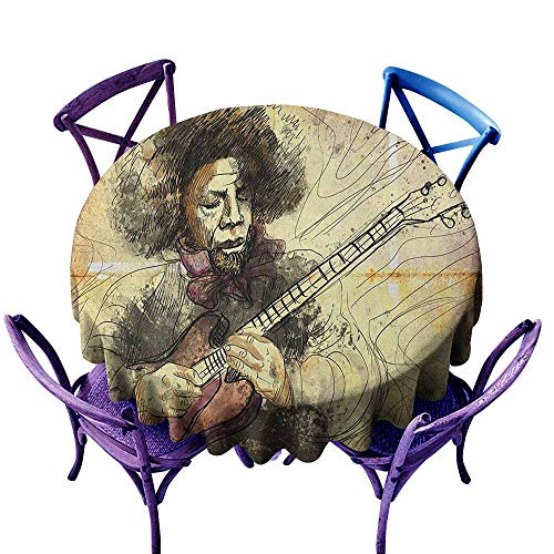 (Stain Resistant Round Tablecloth,Jazz Music Guitar Virtuoso Hand Drawn Style Illustration of a Guitar Player Musician,Table Cover for Kitchen Dinning Tabletop Decoratio,40 INCH Brown Beige Black)