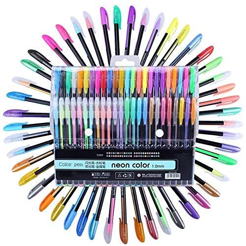 MEEDEN 48pcs Gel Pen Set Refills Metallic Pastel Neon Glitter Sketch Drawing Color Pen School Stationery Marker for Kids Gifts
