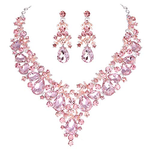 Youfir Bridal Rhinestone Necklace Earring Jewelry Set for Brides Wedding Party Dress(Pink)