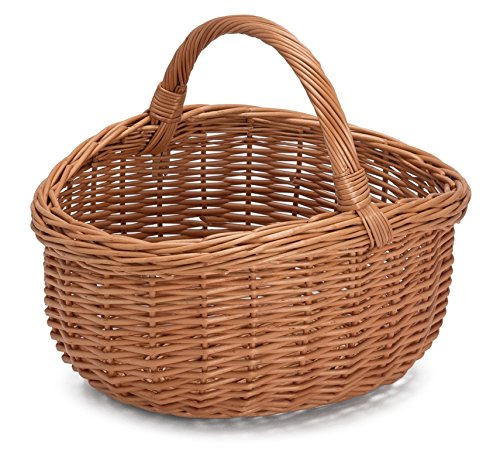 Prestige Wicker Willow Basket with Handle, Natural, 40 x 36 x 36 cm 011