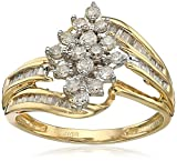 10k Yellow Diamond Gold Cluster Ring (1/2 cttw), Size 8