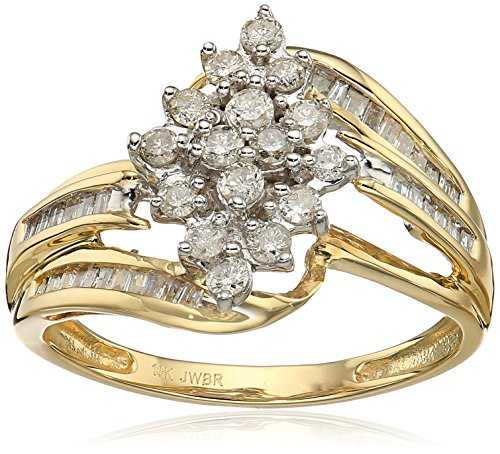 Jewelili 10kt Yellow Diamond Gold Cluster Ring (1/2 cttw), Size 8